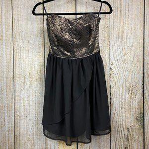 Dynamite Spaghetti Strap Gold and Black Dress